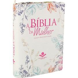 A Bíblia da Mulher | Letra Normal | ARA | Capa Couro Flores Luxo / Zíper | c/ Índice
