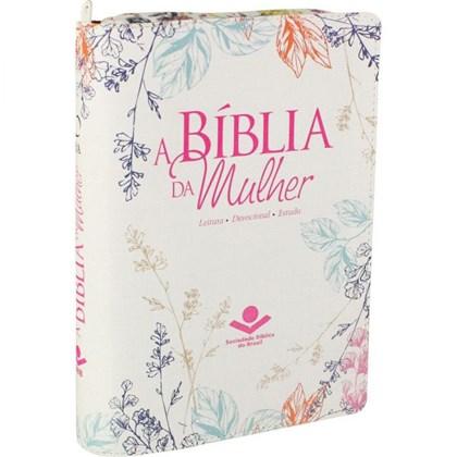 A Bíblia da Mulher   Letra Normal   ARA   Capa Couro Flores Luxo / Zíper   c/ Índice