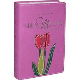 A Bíblia da Mulher | Letra Normal | ARA | Capa Flor Costurada Legno Luxo