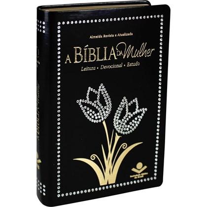 A Bíblia da Mulher   Letra Normal   ARA   Capa Preta Nobre Pedras Tulipas