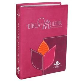 A Bíblia da Mulher | Letra Normal | ARC | Couro Luxo Flor Grande