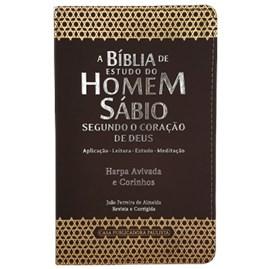 A Bíblia de Estudo do Homem Sábio | ARC | Letra Grande | Harpa Avivada e Corinhos | Capa Marrom