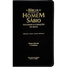 A Bíblia de Estudo do Homem Sábio | ARC | Letra Grande | Harpa Avivada e Corinhos | Capa Preta