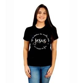 Baby Look Jesus O Centro   Preta   Pecado Zero   GG