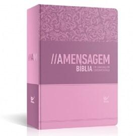 Bíblia A Mensagem   Letra Normal   Semi Luxo Feminina Rosa