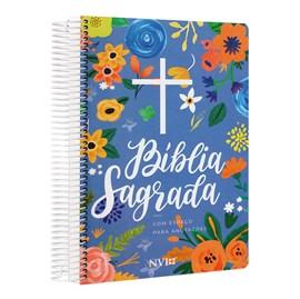 Bíblia Anote Espiral Cruz Floral   NVI   Letra Normal   Com Espaço para Anotações