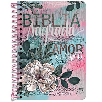 Bíblia Anote Espiral Flor Artística   NVI   Letra Normal   Com Espaço Para Anotações