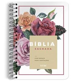Bíblia Anote Espiral Floral | NVI | Letra Normal | Com Espaço Para Anotações