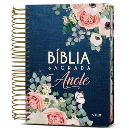 Bíblia Anote Espiral Flores Jeans | NVI | Letra Normal | Com Espaço Para Anotações