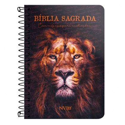 Bíblia Anote Espiral Leão Sereno   NVI   Letra Normal   Com Espaço Para Anotações