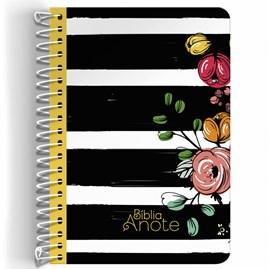 Bíblia Anote Espiral Listrada Flores | NVI | Letra Normal | Com Espaço Para Anotações