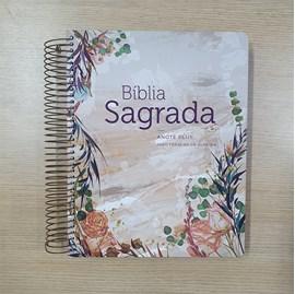 Bíblia Anote Espiral Plus Flor Marmorizada | ARC | Letra Maior | Capa Dura