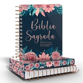 Bíblia Anote Espiral Plus Rosas Especial | ARC | Letra Maior | Capa Dura
