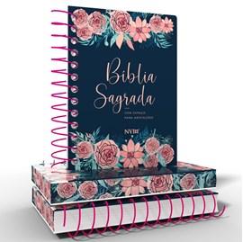 Bíblia Anote Espiral Rosas Especial | NVI | Letra Normal | Com Espaço Para Anotações