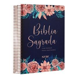 Bíblia Anote Espiral Rosas Especial   NVI   Letra Normal   Com Espaço Para Anotações