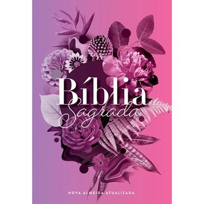 Bíblia Buque Flores Roxo   NAA   Letra Normal   Capa Dura Ilustrada