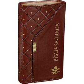 Bíblia Carteira | Letra Normal | ARA | Capa Luxo Couro Marrom / Botão