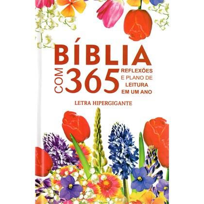 Bíblia com 365 Reflexões e Plano de Leitura   ARC   Hipergigante   Capa Dura Flores