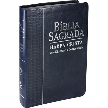 Bíblia Concordância, Dicionário e Harpa Cristã | Letra Grande | ARC | Capa Azul c/ índice
