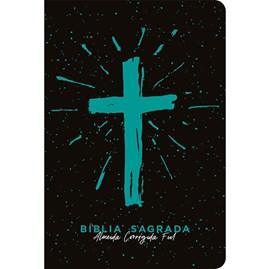 Bíblia Cruz Azul Tiffany | ACF | Letra Grande | Capa Dura Soft Touch
