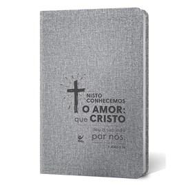 Bíblia Cruz | Letra Normal | AEC | Capa PU Cinza Luxo