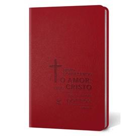 Bíblia Cruz | Letra Normal | AEC | Capa PU Vermelho Luxo