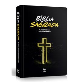 Bíblia Cruz Neon | Letra Normal | AEC | Capa Semi-Luxo