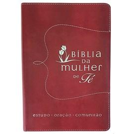 Bíblia da Mulher de Fé | Letra Normal | Capa Couro Vermelha