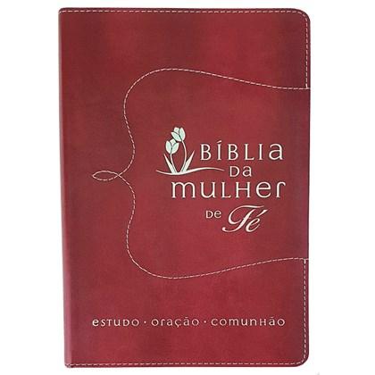 Bíblia da Mulher de Fé   Letra Normal   Capa Couro Vermelha