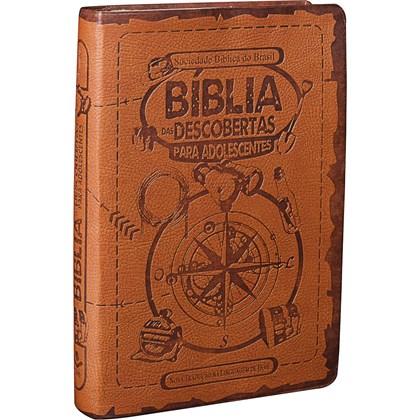 Bíblia das Descobertas para Adolescentes | Letra Normal | NTLH | Capa Couro Marrom Claro Ilustrada