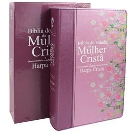 Bíblia de Estudo da Mulher Cristã com Harpa | Letra Normal | ARC | Médio| Rosa