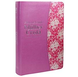 Bíblia de Estudo da Mulher Cristã | Letra Normal | ARC | Couro Rosa