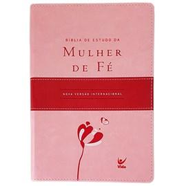Bíblia de Estudo da Mulher de Fé | NVI Letra Normal | c/ índice | Rosa