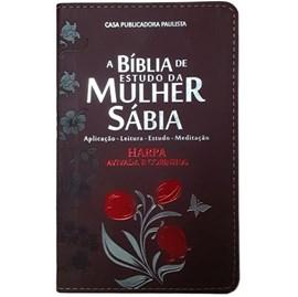 Bíblia de Estudo da Mulher Sábia | ARC | Harpa Avivada | Capa Rosas Bordô