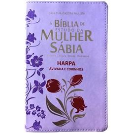 Bíblia de Estudo da Mulher Sábia | ARC | Harpa Avivada | Capa Rosas Lilas
