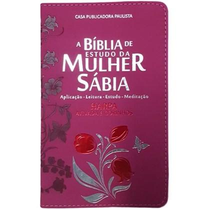 Bíblia de Estudo da Mulher Sábia   ARC   Harpa Avivada   Capa Rosas Pink