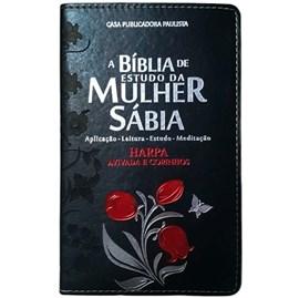 Bíblia de Estudo da Mulher Sábia | ARC | Harpa Avivada | Capa Rosas Preta