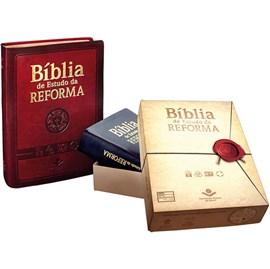 Bíblia de Estudo da Reforma | Letra Normal | ARA | Capa Couro Vinho Luxo | c/ Índice