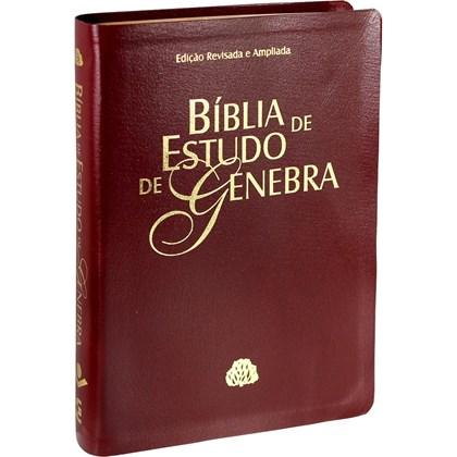 Bíblia de Estudo de Genebra   Letra Normal   ARA   Capa Vinho Nobre Luxo