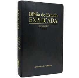 Bíblia de Estudo Explicada | ARC | Dicionário | Capa Preta Forro
