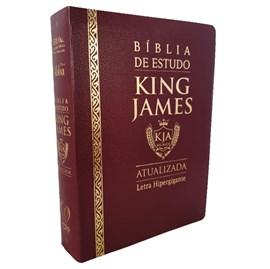 Bíblia de Estudo King James Atualizada | KJA | Letra Hipergigante | Capa Luxo Cover Book Bordô