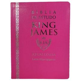 Bíblia de Estudo King James Atualizada | KJA | Letra Hipergigante | Capa Luxo Cover Book Rosa