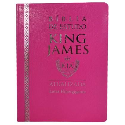 Bíblia de Estudo King James Atualizada   KJA   Letra Hipergigante   Capa Luxo Cover Book Rosa