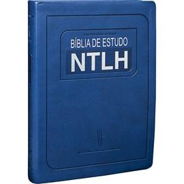 Bíblia de Estudo | Letra Grande | NTLH | Capa Couro Azul Luxo
