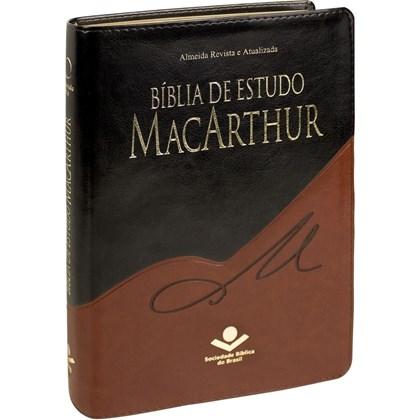 Bíblia de Estudo Macarthur | Letra Normal | ARA | Capa Preta e Marrom Luxo
