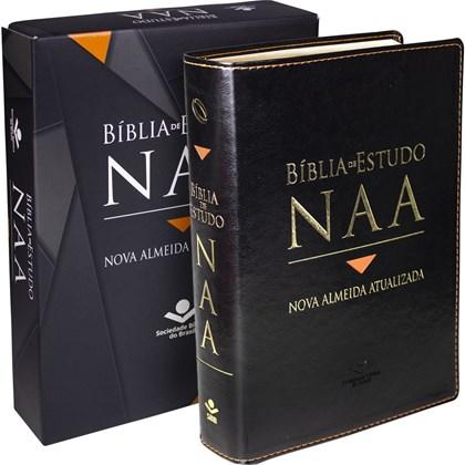 Bíblia de Estudo NAA   Letra Normal   Capa Couro Preta Luxo