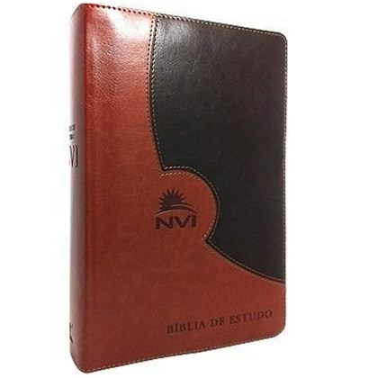 Bíblia de Estudo | NVI | Luxo Marrom e Marrom Escuro | Sem Índice
