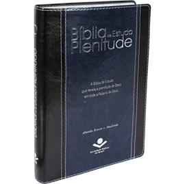Bíblia de Estudo Plenitude | Letra Normal | ARA | Capa Couro Preta e Azul | c/ Índice