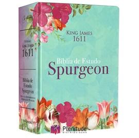 Bíblia de Estudo Spurgeon | King James 1611 | Letra Grande | Luxo | Floral Feminina