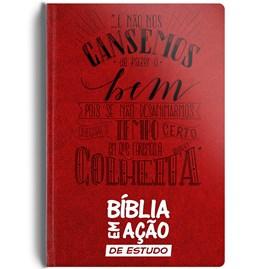 Bíblia em Ação de Estudo | Letra Normal | Capa Luxo Vermelha
